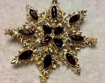 Vintage 1980's snowflake amber glass pearl brooch pin