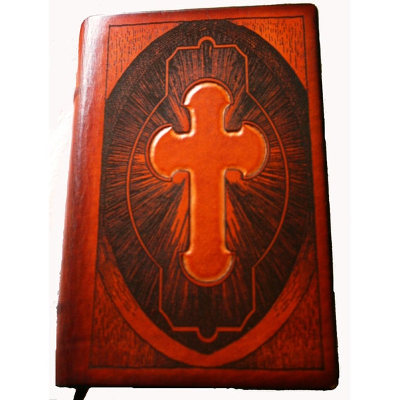 Sonshine Leather Bible with Antique Style Cross - Scanned from 1800's Family Bible - Hand Tooled Cowhide cover by Sonshine Leather