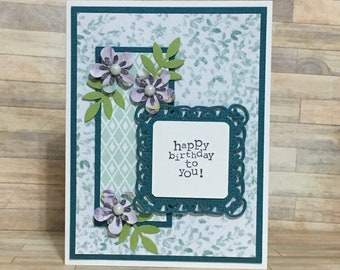 Greeting card, handmade card, birthday card, occasion card, flowers, floral design, green