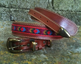 80s Vintage belt/leather and ethnic/unisex fabric