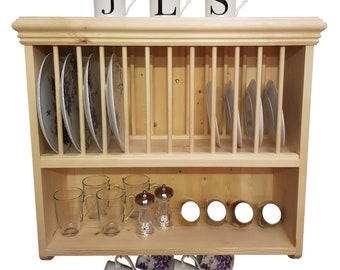 Traditional Wall Mounted Solid Pine Plate Rack PR5 70  sc 1 st  Etsy & Plate rack   Etsy