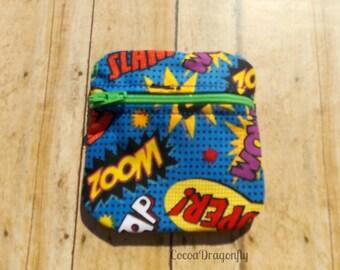 Comic Book Words Coin Purse, Ear Bud Case
