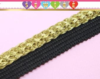 "1yd 1/4""W Metallic Gold Braided Edge Black Flange Piping Trim|Flanged Piping Cord | Piping Trim|Cord Edge Trim| Piping Cord | Lip Cord"