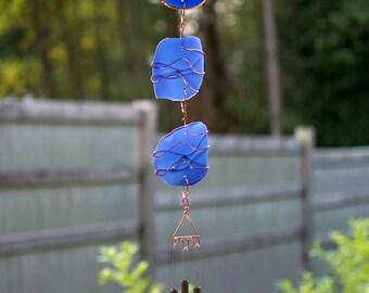 Wind Chime Cobalt Blue Sea Glass Copper Outdoor Windchimes