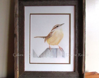"Carolina Wren - Original Watercolor Songbird Painting with Barn Wood Frame, Double Matted, 13 5/8"" x 15 3/4"""