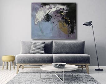 Large abstract painting blue, purple, black, white and gold made to order