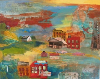On the Road - Original Painting/Collage 24 x 30 inches
