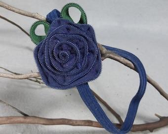 Elastic Headband - Blue Flower Headband, Zipper Flower, Upcycled, Recycled, Repurposed, Baby Headband, Women Headband, Girl Headband