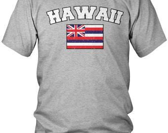 Distressed Hawaii State Flag Men's T-Shirt, Hawaiian Pride, State of Hawaii, Aloha, Men's Hawaii Shirts AMD_0611
