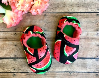 Juicy Summer Watermelon Moccasins - Baby & Toddler Crib Soft Sole Booties -Fruit Shoes - Summer Baby - Baby Shower Gift - Watermelon Moccs