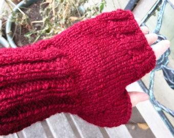 Red Wool Blend Texting Mittens, Wine Red Fingerless Gloves, Mothers Day