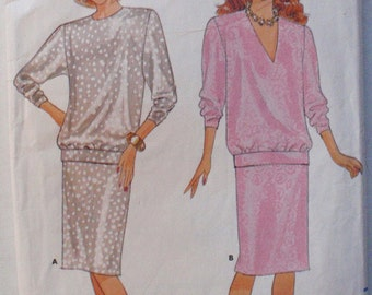 Fast and Easy Sewing Pattern - Pullover Blouson Top and Straight Skirt - Butterick 4358 - Sizes 8-10-12, Bust 31 1/2 - 34