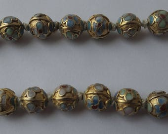 "Vintage c1940s Chinese Gilt Cloisonne Enamel Beaded Necklace 22"" long - beads 7.5mm diameter."
