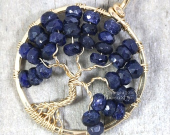 14k gf Blue Sapphire Necklace Tree of Life Pendant September Birthstone Jewelry Navy Blue Gold Wire Wrapped Jewelry Birthday Gift Christmas