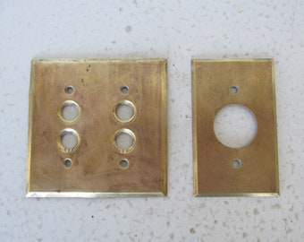 Brass Switch Plate Push Button Vintage Double / Outlet Plate Cover Wall Mount