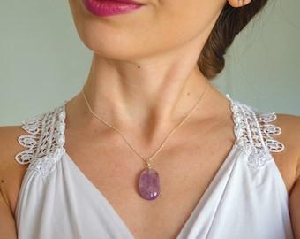 Gemstone necklace, Amethyst necklace, February birthstone necklace, Silver amethyst necklace, Amethyst gemstone necklace, Magic necklace