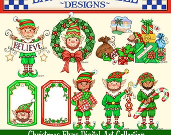 Christmas Elves Clip Art, Christmas elf, Laurie Furnell, Holiday Clip Art, Christmas Cards, Christmas Scrapbook Pages, Holiday Printable