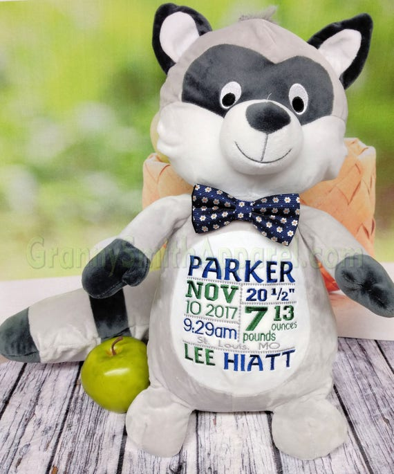 """Gray / black RACCOON 16"""" plush stuffie with custom embroidery! Any occasion, embroidered, monogrammed, personalized gift, customized animal"""