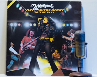 "Whitesnake (Robert Coverdale) Vinyl Record Album 1970s British Blues 2LP, ""Live...In The Heart Of The City""(1980 Carrere IMPORT re-issue)"