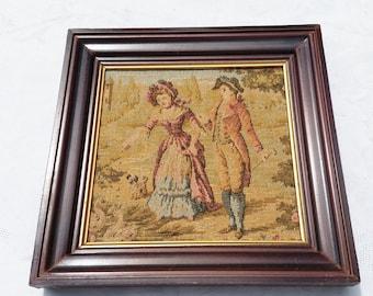 French Vintage boudoir Tapestry, Marie Antoinette romantic scene, couple of lovers,wooden framed tapestry