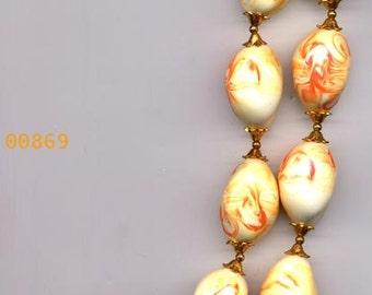Necklace  Vintage  Orange/Ivory Color Swirl Ceramic Bead     Item No: 869