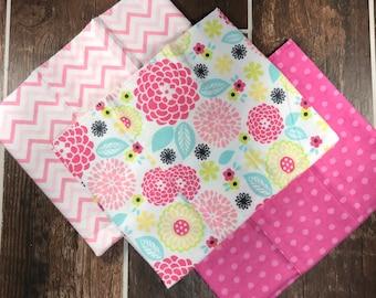 Pink Baby Girl Burp Cloths, Baby Girl Shower Gift, Baby Girl Flannel Burp Cloths, Floral Baby Burp Rags, New Mom Gift, Baby Burp Cloth Set