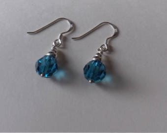 Blue Swarovski crystal and sterling silver earrings
