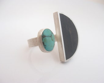 Wood & Stone Handmade Ring - Sterling Silver Ring - Silver, Ebony and Turquoise - Ring - Wood and Stone Ring - Open and Adjustable Ring