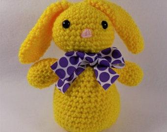 Crocheted Yellow Bunny, Easter Bunny, Plush Rabbit, Easter Basket Stuffers, Floppy Bunny Ears, Rabbit Decor, Bunny Baby Shower, Toy Bunny
