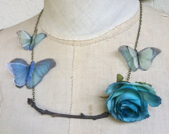 Handmade Silk Organza Butterflies and Fabric Rose Flower Necklace on Electroformed Real Branch Tree in Copper Brown Patinated - OOAK