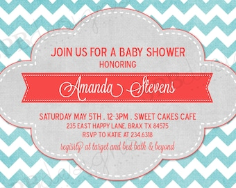 Baby Shower Invitation -- Chevron