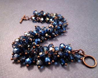 Montana Blue Cha Cha Bracelet, Faceted Glass Beaded, Copper Wire Wrapped Charm Bracelet, FREE Shipping U.S.
