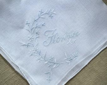 Vintage White Hanky with Florence in one Corner - Handkerchief Hankie