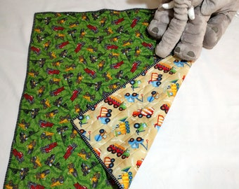 Tonka Child's Floor Quilt, Toddler Quilt, Play Quilt for Boys, Trucks and Equipment, Train Tracks, Reversible, Quiltsy Handmade