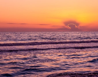 Ocean Photography - Large 30x45 Fine Art Photography Print - purple pink sunset - One More Night No. 1303-9072