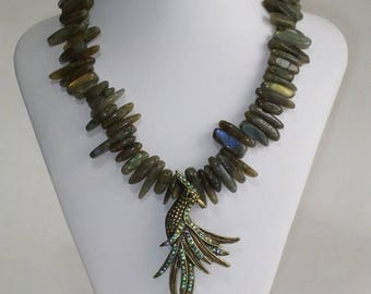 Bird of Paradise , Labrodite necklace