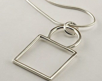 Square to Circle Sterling Silver Pendant