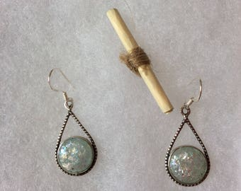 Ancient roman glass earrings, sterling silver