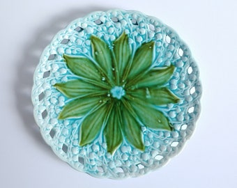 Antique majolica plate, lily of the valley, Majolica display plate