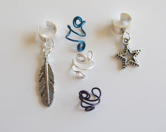 Earcuff Set of 5 Ear Cuffs Feather Star and Spirals