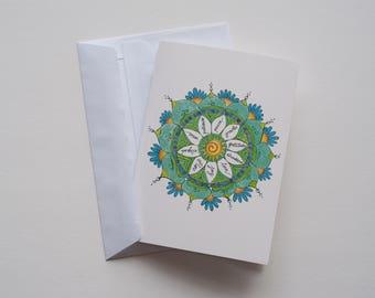 Positivity Circle Meditation Mandala Greeting Card