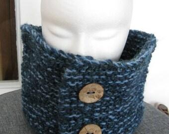 Large Snood blue heathered wool