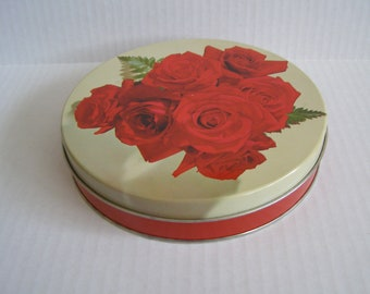 Vintage Candy Tin ~ Red Roses ~ Metal ~ Carlsbad Oblaten St. Paul Minnesota