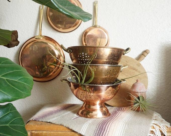 Vintage Copper Colander Strainer with Brass Handles - Multiple Selections