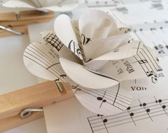 10 Vintage Sheet Music Rose Clothespin-Wedding-Photo Line-Props-Decor
