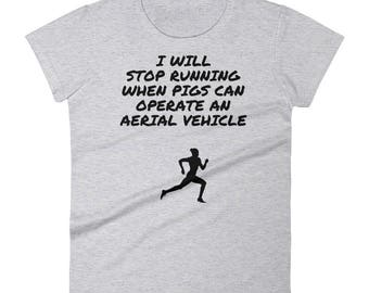 running exercise fitness womens shirt, working out, run, never quit, success