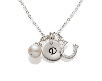 3 Bridesmaid Gift Necklaces , Horseshoe Initial Personalized Bridal Wedding Jewelry 925 Sterling Silver