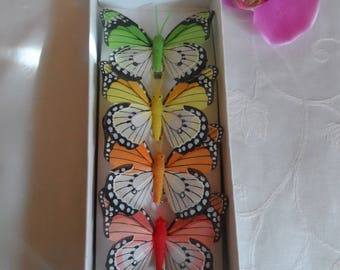4 butterflies with different colors for floral art deco wedding clothes