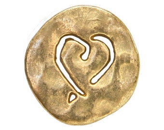 3 Etched Heart 3/4 inch ( 20 mm ) Metal Buttons Antique Gold Color