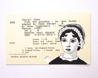 Jane Austen Library Card Art - Print of my painting of Jane Austen on library card for Pride and Prejudice